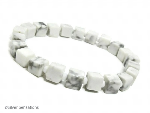 White & Pastel Grey Howlite Turquoise Square Cubes Bead Bracelet